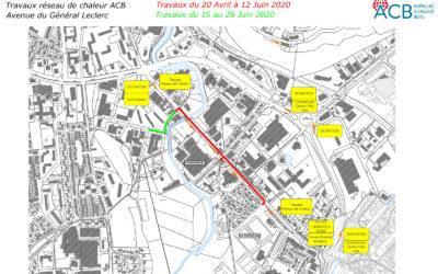 Reprise le 20 avril du chantier du réseau de chaleur bois / avenue du Général Leclerc