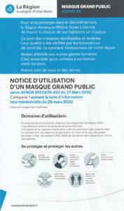 Notice d'utilisation d'un masque grand public